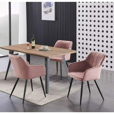 Camden & Rocco LUX Dining Set   Modern Dining Table   Velvet Finish Chairs (OAK TABLE & PINK)