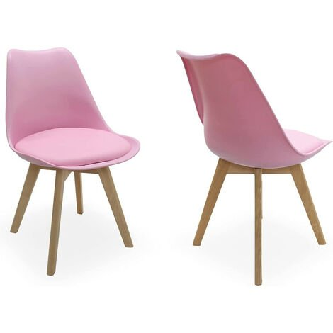 Lorenzo Retro Chair - Plastic Shell   Padded Seat   Wood Legs   Dining Chairs   Classic Design (PINK SET OF 2)