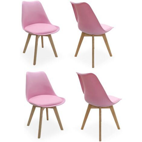 Lorenzo Retro Chair - Plastic Shell | Padded Seat | Wood Legs | Dining Chairs | Classic Design (PINK SET OF 4)