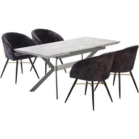 Vittorio Velvet Chair & Rocco Dining Table (WHITE & BLACK)