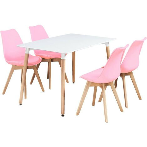 Halo Dining Table & Lorenzo Dining chairs Set (WHITE & PINK)
