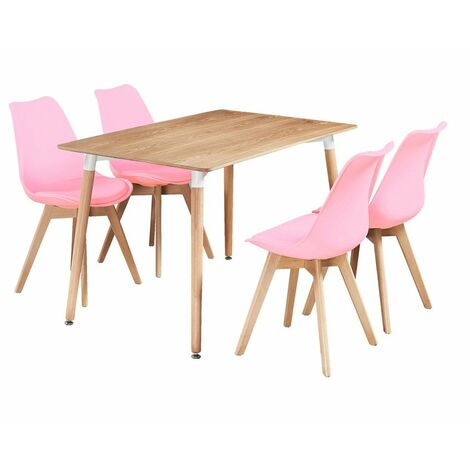 Halo Dining Table & Lorenzo Dining chairs Set (OAK & PINK)