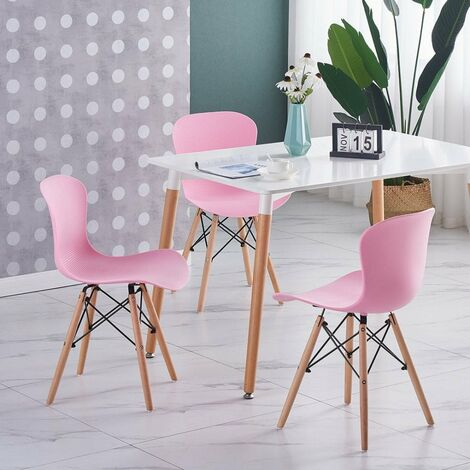 Alessia Halo Dining Table Set with 4 Chairs (WHITE & PINK)