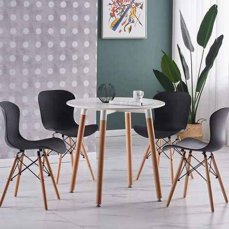 Alessia Halo Round Dining Table Set with 4 Chairs (WHITE & BLACK)