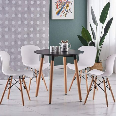 Alessia Halo Round Dining Table Set with 4 Chairs (BLACK & WHITE)