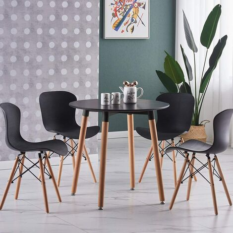 Alessia Halo Round Dining Table Set with 4 Chairs (BLACK & BLACK)
