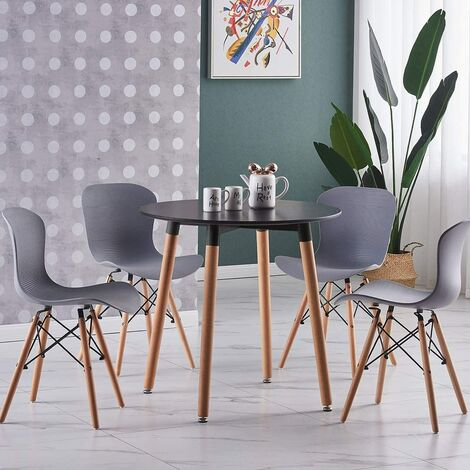 Alessia Halo Round Dining Table Set with 4 Chairs (BLACK & PINK)