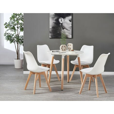 Lorenzo Halo Round Dining Table Set with 4 Chairs (WHITE & WHITE)