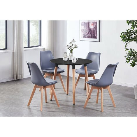 Lorenzo Halo Round Dining Table Set with 4 Chairs (WHITE & GREY)