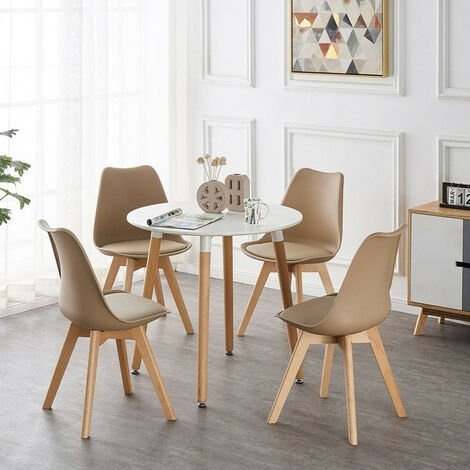 Lorenzo Halo Round Dining Table Set with 4 Chairs (WHITE & VANILLA)