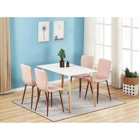 Marco & Halo Dining Set | Modern Dining Chair | 5 Piece Set | White Table & Pink Chair | SET OF 4 CHIARS |
