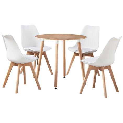 Jamie Halo Round Dining Table Set   4 CHAIR SET   Retro Chairs   Dining Table (Oak Table & White Chairs)