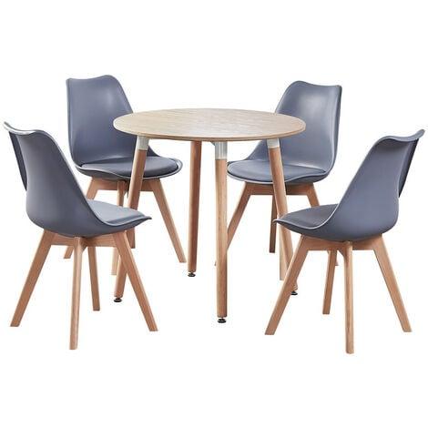 Jamie Halo Round Dining Table Set   4 CHAIR SET   Retro Chairs   Dining Table (Oak Table & Grey Chairs)