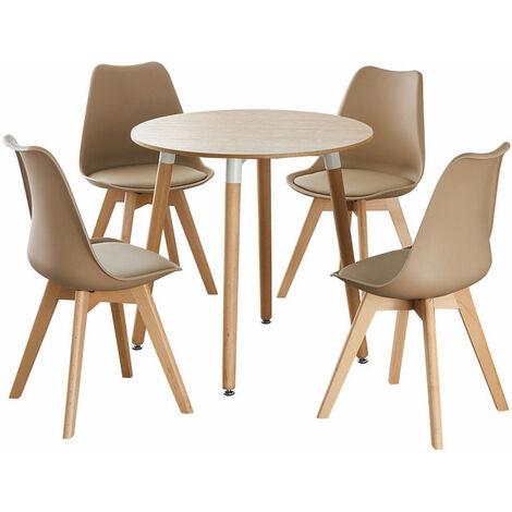 Jamie Halo Round Dining Table Set | 4 CHAIR SET | Retro Chairs | Dining Table (Oak Table & Vanilla Chairs)