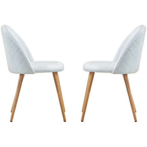 Lucia Velvet Chair   Dining Chair   Retro Style   Padded   Solid Legs   SET OF 2 (SKY BLUE)