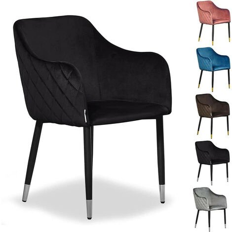 Verona LUX Velvet Dining Chair | Square Stitched Chair | Cushion Padded | Dining Room Chair | Side Chair | Dressing Table Chair | BLACK