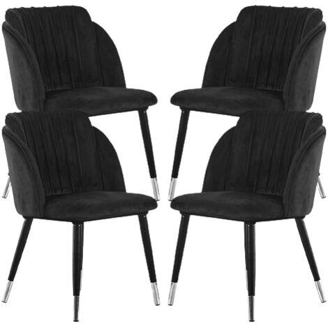 Milano Velvet Chair | Gold Tips | Living Room | Office Chair | Dining Chair | Velvet Chair | SET OF 4 | BLACK