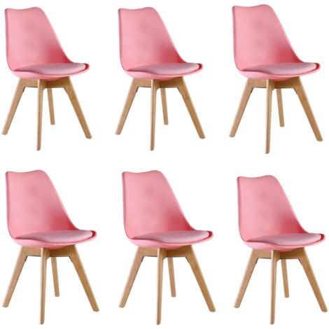 Lorenzo Retro Chair - Plastic Shell   Padded Seat   Wood Legs   Dining Chairs   Classic Design (PINK - SET OF 6)
