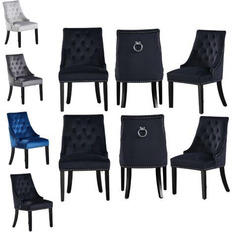 Windsor Velvet Chair | Tufted Velvet Chair | Door Knocker | Studded | Dining Chair | Accent Chair | Dresser Chair | SET OF 6 - BLACK