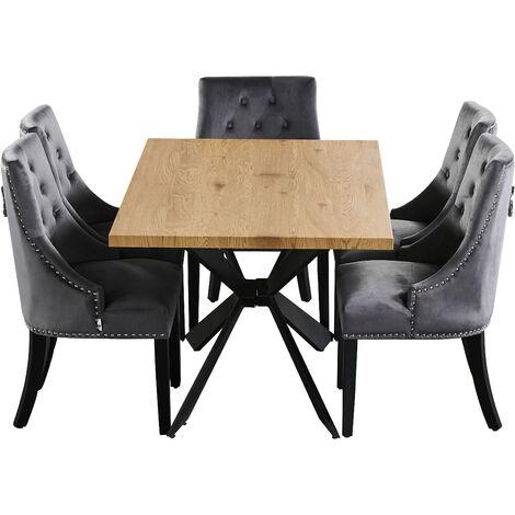 Windsor & Duke LUX Dining Set   Modern Table   Velvet Tufted Chairs   Door Knocker Chair   OAK/BLACK & DARK GREY
