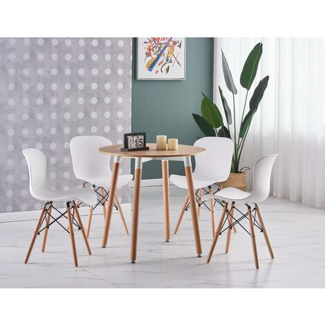 Alessia Halo Round Dining Table Set | 4 CHAIR SET | Retro Ribbed Chairs | Dining Table (Oak Table & White Chairs)