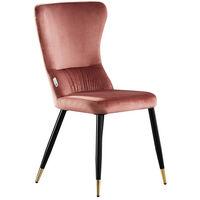 New York Velvet Chair | Living Room | Dining Chair | Modern Velvet Furniture (PINK & GOLD)