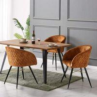 Vittorio Velvet Chair & Rocco Dining Table (OAK & TAN)