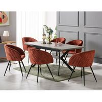 Vittorio Velvet Chair & Rocco Dining Table (BLACK/ASH & RUST)