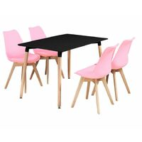 Halo Dining Table & Lorenzo Dining chairs Set (BLACK & PINK)