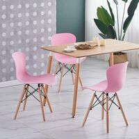 Alessia Halo Dining Table Set with 4 Chairs (OAK & PINK)