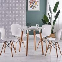 Alessia Halo Round Dining Table Set with 4 Chairs (WHITE & WHITE)