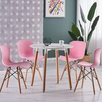 Alessia Halo Round Dining Table Set with 4 Chairs (WHITE & PINK)