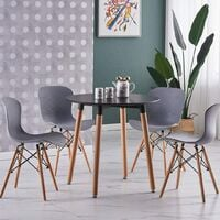 Alessia Halo Round Dining Table Set with 4 Chairs (BLACK & GREY)