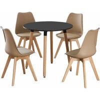 Lorenzo Halo Round Dining Table Set with 4 Chairs (BLACK & VANILLA)