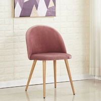 Lucia Velvet Chair   Dining Chair   Retro Style   Padded   Solid Legs   SINGLE CHAIR (PINK)