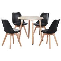 Jamie Halo Round Dining Table Set   4 CHAIR SET   Retro Chairs   Dining Table (Oak Table & Black Chairs)