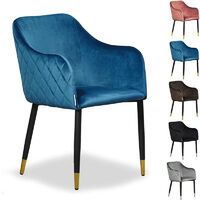 Verona LUX Velvet Dining Chair - SET OF 2   Square Stitched Chair   Cushion Padded   Dining Room Chair   Side Chair   Dressing Table Chair   BLUE