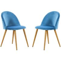 Lucia Velvet Chair | Dining Chair | Retro Style | Padded | Solid Legs | SET OF 2 (BLUE)