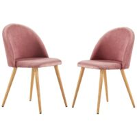 Lucia Velvet Chair | Dining Chair | Retro Style | Padded | Solid Legs | SET OF 2 (PINK)