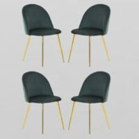 Lucia Velvet Chair | Dining Chair | Retro Style | Padded | Solid Legs | SET OF 4 (GREEN)