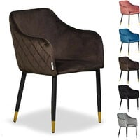 Verona LUX Velvet Dining Chair   Square Stitched Chair   Cushion Padded   Dining Room Chair   Side Chair   Dressing Table Chair   BROWN