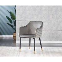 Verona LUX Velvet Dining Chair | Square Stitched Chair | Cushion Padded | Dining Room Chair | Side Chair | Dressing Table Chair | GREY + GOLD TIPS