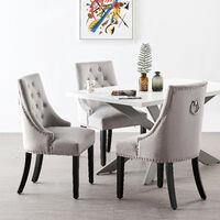 Windsor Velvet Chair | Tufted Velvet Chair | Door Knocker | Studded | Dining Chair | Accent Chair | Dresser Chair | SET OF 6 - LIGHT GREY