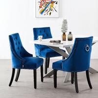Windsor Velvet Chair | Tufted Velvet Chair | Door Knocker | Studded | Dining Chair | Accent Chair | Dresser Chair | SET OF 6 - ROYAL BLUE