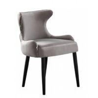 OXFORD LUX VELVET DINING CHAIR   Retro Dining Chair   Stud Finish   Velvet Fabric   LIGHT GREY