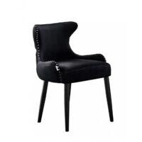 OXFORD LUX VELVET DINING CHAIR   Retro Dining Chair   Stud Finish   Velvet Fabric   BLACK