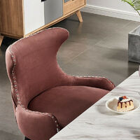OXFORD LUX VELVET DINING CHAIR | Retro Dining Chair | Stud Finish | Velvet Fabric | DUSTY PINK