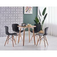 Alessia Halo Round Dining Table Set | 4 CHAIR SET | Retro Ribbed Chairs | Dining Table (Oak Table & Black Chairs)