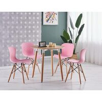 Alessia Halo Round Dining Table Set | 4 CHAIR SET | Retro Ribbed Chairs | Dining Table (Oak Table & Pink Chairs)