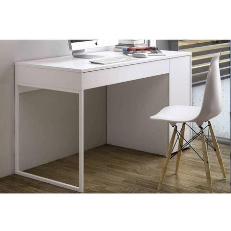 PRADO bureau blanc mat avec 1 tiroir et 1 caisson - blanc